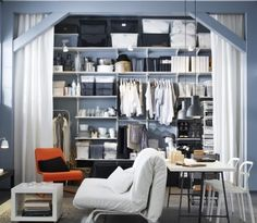 Shop for general storage solutions for your home at IKEA. Our versatile ALGOT system is designed to help with organization needs for any room in your home. Dressing Pas Cher, Grand Dressing, Dressing Room, Small Space Living, Small Spaces, Living Spaces, Ikea Algot, Mini Loft, Small Apartment Decorating