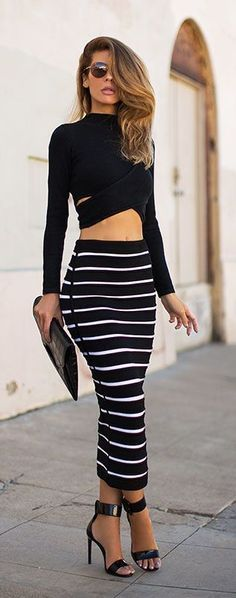 Long Sleeves Crop Top Striped Stretch Skirt Dress Set Unique Striped Bodycon Stretch style and two pieces dresses design makes women more sexy and fashion Sexy Tracksuit 2 Piece SeFor Crop Outfits Summer DSequin Outfits Sexy Club Mode Outfits, Sexy Outfits, Casual Outfits, Fashion Outfits, Womens Fashion, Fashion Trends, Fashion Ideas, Night Outfits, Skirt Outfits