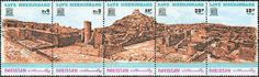Pakistan Stamps  1976. Strip of five UNESCO-stamps with a panoramic view of the ruins at Moenjodaro.