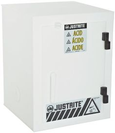 """Justrite 24004 Safety Cabinet for Corrosive Liquids, 1 Door, Six 2-1/2 Liter bottles, 22""""Height, 17""""Width, 17""""Depth, Polyethylene, White by Justrite. $735.38. The Justrite 24004 solid polyethylene safety cabinet for corrosives is a hazardous storage cabinet that has one manually closing door and that can be used to store up to six 2-1/2-liter bottles of acids or corrosive liquids. The cabinet is made of polyethylene, which is resistant to certain acids, chemicals, ..."""