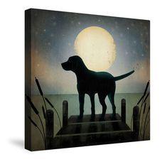 Moonrise Black Dog Canvas Wall Art