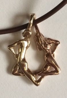 Adam and Eve pendant Star of David 14k size large by Lorenstein