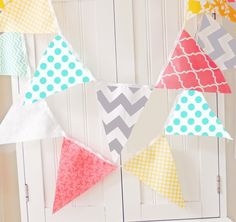 Bunting Garland Banner, Fabric Flags, Baby Shower Banner, Photo Prop, Wedding Garland, Birthday Party Aqua, Grey, Yellow, Coral, Chevron