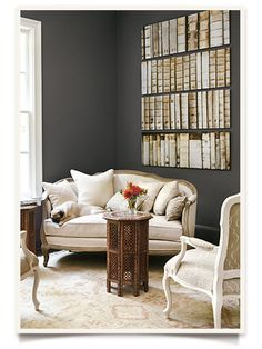 Dark gray wall color from Ballard Designs catalog Living Room Colors, Living Room Grey, Living Room Decor, Living Area, Living Spaces, Bedroom Decor, Grey Wall Color, Comfortable Living Rooms, Home Interior