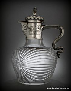 Art Nouveau jug by Wuerbel & Czokally, Vienna Crystal Decanter, Glass Jug, Antique Glassware, Carnival Glass, Glass Collection, Islamic Art, Vintage Decor, Antique Furniture, Antique Silver