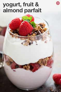 This parfait is a perfectly healthy treat everyone's sure to love. Place two tablespoons of crushed cookies in the base of two sundae or parfait style glasses. Layer with half cup of yogurt, half cup of fresh berries, peaches & apricots, and one tablespoon more of the cookies. Now, top with half cup of yogurt, remaining cookies, toasted almonds, a drizzle of honey and serve!