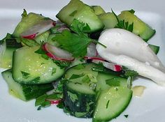 Fresh Cucumber-Radish Salad. The delicious dressing for this salad comes from the juices that form while the cucumber marinates with garlic, an Arbol chile, lime juice and other ingredients. As a bonus, the fresh mozzarella pairs well with the marinated cucumbers.