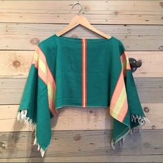VTG cropped boho poncho like top Good condition. Perfect for summer. Fits most sizes Vintage Tops Blouses