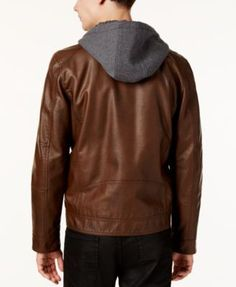 Guess Men's Faux-Leather Detachable-Hood Motorcycle Jacket - Brown XL