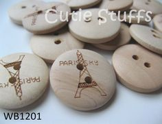 20mm Wood Buttons  Tour Eiffel  Set of 6 by cutiestuffs on Etsy, $3.00