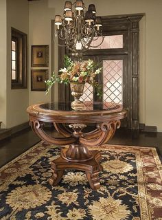 Editorial-worthy Entry Table Ideas Designed with Every Style – Decorating Foyer Home Design, Flur Design, Design Ideas, Entrance Table Decor, Entryway Decor, Table Decorations, Round Entry Table, Entry Tables, Round Tables