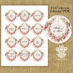 Garland of Roses Editable PDF Instant Download by tatteredvintage, $9.00