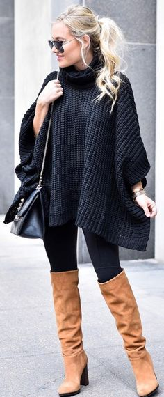 #winter #fashion Black Oversized Turtleneck + Camel OTK Booties