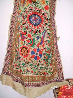 Tasar silk katha work from West Bengal, Eastern India. Its the most expensive work in lines of the Phulkari Dupatta from Punjab