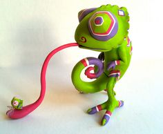 Designer Toy Chameleon with Fly Toxic by Seriouslysillygirls