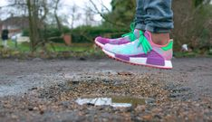 Jumping in mud with UNRELEASED adidas Human Race NMD Pharrell 'Holi Festival'