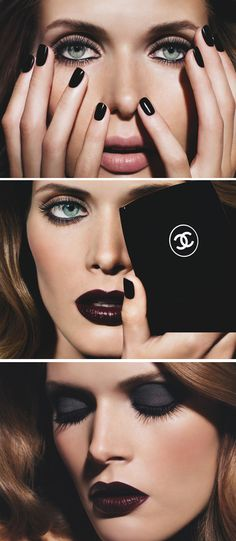 Chanel Noir Obscurs Make-up Collection winter 2009. What an awesome vampy look. Obsessed.