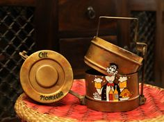 Shop Handpainted Tiffin Carrier, Vintage Tiffin box only on A Krazy Mug Indian Home Decor, Diy Home Decor, Tiffin Carrier, Rajasthani Art, Tiffin Box, Paint Brass, Desi Humor, Plastic Bottle Crafts, Mandala Drawing