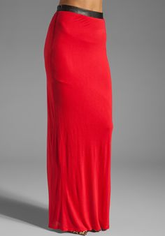 HEATHER Wrap Maxi Skirt with Leather Trim in Garnet at Revolve Clothing - $136.00