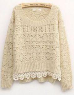 Beige Long Sleeve Contrast Lace Sweater