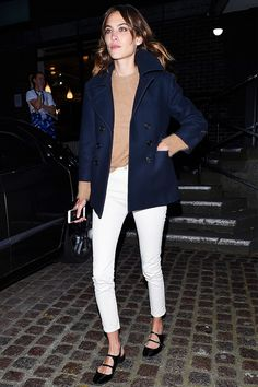 Want to avoid looking a little too juvenile in these feminine flats? Wear them with menswear-inspired pieces.  On Chung: Alexa Chung x AG Brianna Skinny Jeans ($158); Carven shoes.