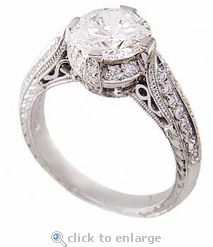 Ziamond Cubic Zirconia 1 Carat Round 6.5mm Estate Style Engagement Ring. The Charlottan features a detailed mounting adorned with pave set round cz. $995 #ziamond #cubiczirconia #cz #ring #engagement #wedding #jewelry #bridal