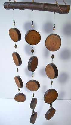 Silent Wind Chime Mobile Unique Wood Round Wind Chime