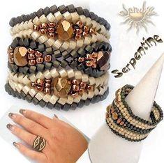 Anillo Serpentine (imagen de) II part III part Jewelry Seed Bead Jewelry, Bead Jewellery, Beaded Jewelry, Handmade Jewelry, Women's Jewelry, Seed Beads, Jewlery, Diy Schmuck, Schmuck Design