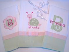 Burp Cloths--use color ideas