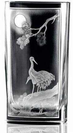 Moser, hand cut, engraved and sandblasted vase Victoria 2475, motif Cranes by the Sunset, 2007, Aleš Kosina and Martina Kosinová, Czech Republic.