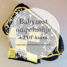 DIY Babynestin ompeluohje + tulostettava PDF-kaava Company Logo, Logos, Diy, Baby Nest, Bricolage, Logo, Do It Yourself, Homemade, Diys