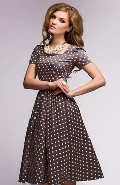 Pretty woman brown and white dot dress