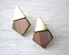 Yoko Earrings, gold silver plated jewelry wood veneer posts studs geometric Japanese