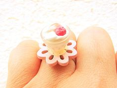 Food Ring  Ice Cream Flower Pale Pink Minaiture by SouZouCreations, $12.50 #etsy #jewelry #jewellery #shopping #etsy #handmade #food #gift #present #accessory #accessories #harajuku #tokyo #fashion #summer