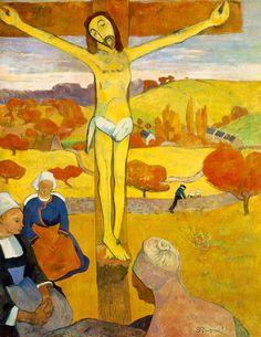 PAUL GAUGUIN. El Cristo amarillo.  1889. CLOISONISMO. Estilo de pintura postimpresionista donde se utilizan colores planos, en contornos oscuros silueteados perfectamente delimitados.