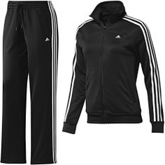 Frauen essentials 3-Stripes Trainingsanzug, Black