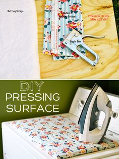 Create a pressing surface to replace your ironing board. Go here for instructions: http://www.acraftyfox.net/tutorial/freedom-of-the-press/