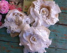 Set of 3 Satin and Lace Flower Appliques/  Ivory & Champagne/