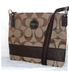 Authentic Coach Signature Stripe File Zip Bag 17435 Khaki Mahogany