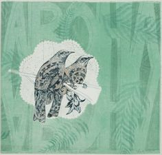 Vanessa Edwards, Birds of a Feather, etching and monoprint on 340 x 355 mm paper, 1 of 1, 2010.