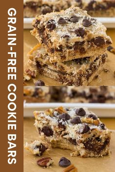 Grain-Free Magic Cookie Bars! A paleo dessert layered with coconut, chocolate chips and nuts.