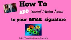 How to Add Social Media Icons to Gmail Signature  http://www.barbarajunetaylor.com/add-social-media-icons-to-your-gmail/