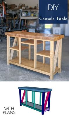 Grab the plans to build this DIY console table. It's the perfect size to store your books, movies, magazines, etc. Or dress it up for the entryway with some simple decor! #consoletable #diyhome #diyprojects #woodworking #diyfurniture