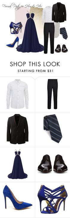 """Formal party for Him & Her"" by maiaytina on Polyvore featuring Scotch & Soda, DKNY, Lands' End, Calibrate, Christian Louboutin y Ted Baker"