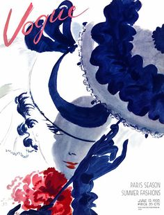 Vintage Vogue magazine cover illustration by Jean Pages, Vogue Vintage, Vintage Vogue Covers, Moda Vintage, Vintage Men, Magazine Wall Art, Vogue Magazine Covers, Fashion Cover, Parasol, Vintage Magazines