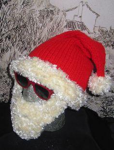 8d66ef57f27a6 Instant Digital File pdf download knitting pattern-MADMONKEYKNITS Bearded Santa  Hat Superfast pdf knitting pattern. Christmas Knitting ...
