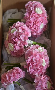 Pink and White Hydrangea | Simple bouquets of pink hydrangea and white roses for the bridesmaids ...