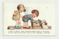 1928 MABEL LUCIE ATTWELL POSTCARD GIRL PATCHING CLOTHES - TIMES IS AWFUL HARD