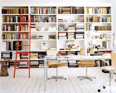 More home office inspiration, this shot is from photographer Ditte Isager 's portfolio. I love the wall of bookshelves and that red ladder! Home Office, Library Ladder, Library Wall, Library Shelves, Interior Exterior, Interior Design, Shelving, Ceiling Shelves, Living Spaces