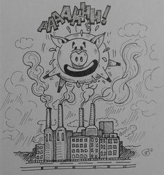 Music Cover parody pt 41 bis Pink Floyd - Animals 1977 Sketching idea for acrylic Paint #PinkFloyd #atonheartmother #thewall #rogerwaters #sidbarret #cow #Lansdscape #parody #country #psichedelic #head #fabrik #animals #pigsinthewind #pigs #davidgilmour #coverlp #inktober #inktober2016